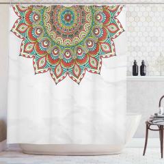 Rengarenk Mandalalı Duş Perdesi Hint Tarzı Çiçekli