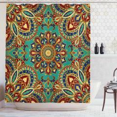 Mandala Desenli Duş Perdesi Otantik Nostaljik Şık