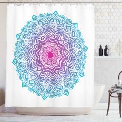 Mandala Desenli Duş Perdesi Yoga Mavi Pembe Hint