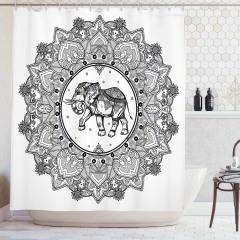 Mandala Desenli Duş Perdesi Siyah Beyaz Fil Hint