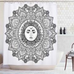 Mandala Desenli Duş Perdesi Güneş Tanrısı Desenli