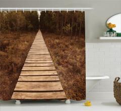 Issız Yol Temalı Duş Perdesi Doğa Kahverengi