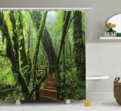 Vahşi Doğa Temalı Duş Perdesi Orman Yeşil Ağaç