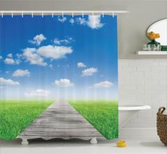 Yeşil Çayır Manzaralı Duş Perdesi Mavi Gökyüzü
