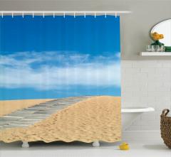 Altın Plaj Temalı Duş Perdesi Sarı Mavi Yaz