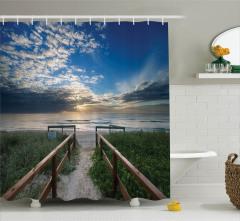 Issız Plaj Manzaralı Duş Perdesi Mavi Gökyüzü