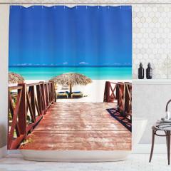 Egzotik Plaj Temalı Duş Perdesi Turkuaz Deniz