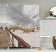 Gökyüzü ve Plaj Manzaralı Duş Perdesi Gri