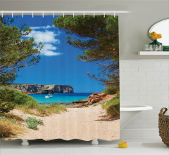 Deniz Manzaralı Duş Perdesi Plaj Gökyüzü Mavi