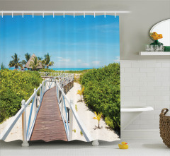 Tropik Plaj Manzaralı Duş Perdesi Mavi Yeşil