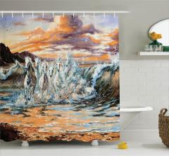 Yağlı Boya Resmi Etkili Duş Perdesi Nehirdeki Atlar