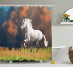 Yaban Hayatı Temalı Duş Perdesi Kırlarda Koşan At