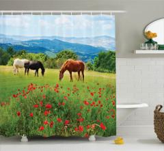 Yaban Hayatı Temalı Duş Perdesi Gelincikler ve Atlar