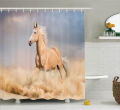 Çölde Koşan  At Desenli Duş Perdesi Kahverengi Trend