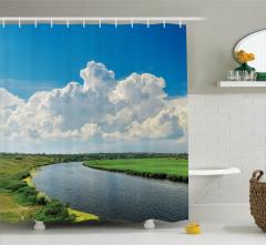Nehir ve Bulut Manzaralı Duş Perdesi Şık Mavi
