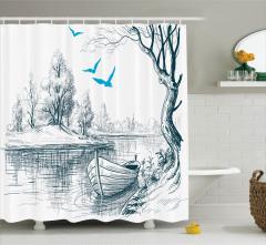 Nehir ve Tekne Desenli Duş Perdesi Şık Tasarım