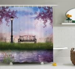 Bahar Temalı Duş Perdesi Çiçek Ağaç Nehir Mor