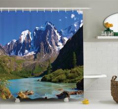Karlı Dağlar ve Nehir Temalı Duş Perdesi Mavi