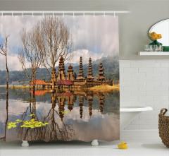 Göl ve Bulut Manzaralı Duş Perdesi Şık Tasarım