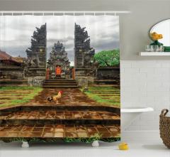 Tapınak Manzaralı Duş Perdesi Gri Gökyüzü