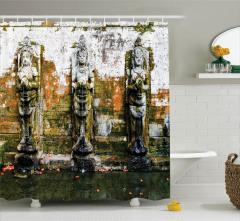 Çeşme Desenli Duş Perdesi Tapınak Buda Temalı