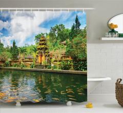 Tapınak Manzaralı Duş Perdesi Yeşil Ağaç Balık