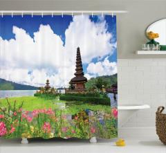 Tapınak ve Gökyüzü Temalı Duş Perdesi Çiçek