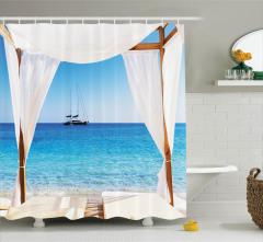 Cennet Plajı Manzaralı Duş Perdesi Beyaz Mavi