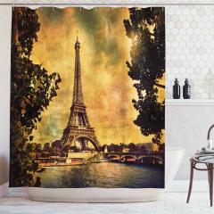 Nostaljik Duş Perdesi Eyfel Kulesi Desenli Paris