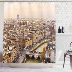 Paris Manzaralı Duş Perdesi Eyfel Romantik Nehir