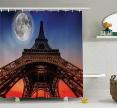 Eyfel Kulesi Desenli Duş Perdesi Ay Işığında Paris