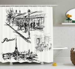 Karakalem Resmi Etkili Duş Perdesi Paris Caddeleri