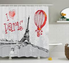 Gri Duş Perdesi Paris ve Eyfel Kulesi Desenli