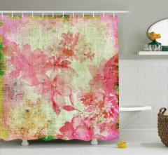 Pembe Çiçek Desenli Duş Perdesi Nostaljik Retro
