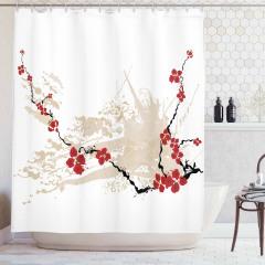 Sakura Çiçekleri Desenli Duş Perdesi Bahar Kırmızı