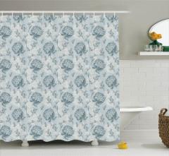 Çiçek Desenli Duş Perdesi Romantik Çeyizlik Mavi