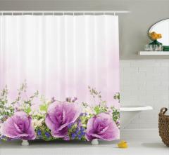 Lavanta Rengi Duş Perdesi Bahar Çiçekleri Temalı