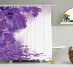 Menekşe Desenli Duş Perdesi Bahar Çiçekleri Mor