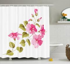 Pembe Çiçek Desenli Duş Perdesi Çeyizlik Beyaz Trend