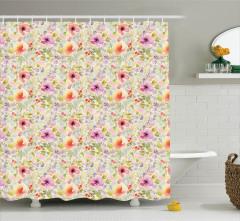 Bahar Temalı Duş Perdesi Rengarenk Çiçekler Çeyizlik