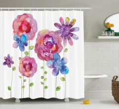 Suluboya Resmi Etkili Duş Perdesi Rengarenk Çiçekler