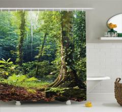 Orman Manzaralı Duş Perdesi Doğa Temalı Yeşil