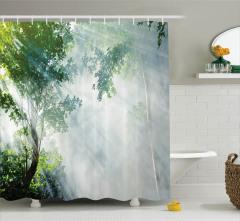 Sisli Orman Temalı Duş Perdesi Gri Yeşil Doğa