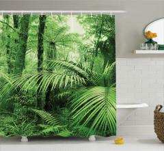Orman Manzaralı Duş Perdesi Ağaç Yeşil Doğa