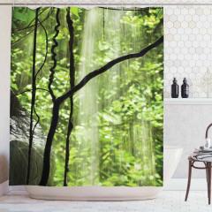 Orman Manzaralı Duş Perdesi Su Ağaç Yeşil