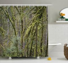Yağmur Ormanı Manzaralı Duş Perdesi Yeşil Ağaç