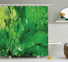 Vahşi Orman Manzaralı Duş Perdesi Ağaç Yeşil