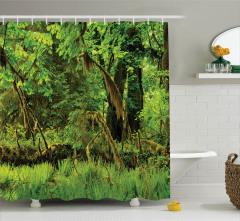 Orman Manzaralı Duş Perdesi Yeşil Doğa Ağaç