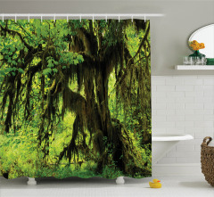 Yağmur Ormanı Temalı Duş Perdesi Doğa Ağaç