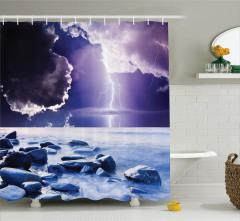 Bulut ve Yağmur Temalı Duş Perdesi Lacivert Deniz